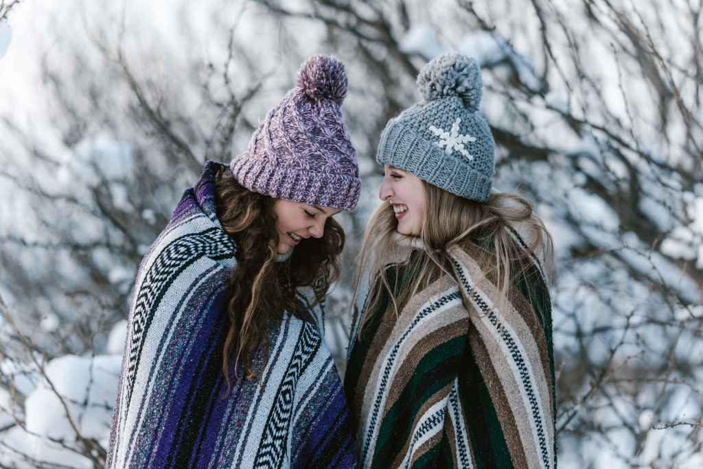 Two girls prepared for winter.