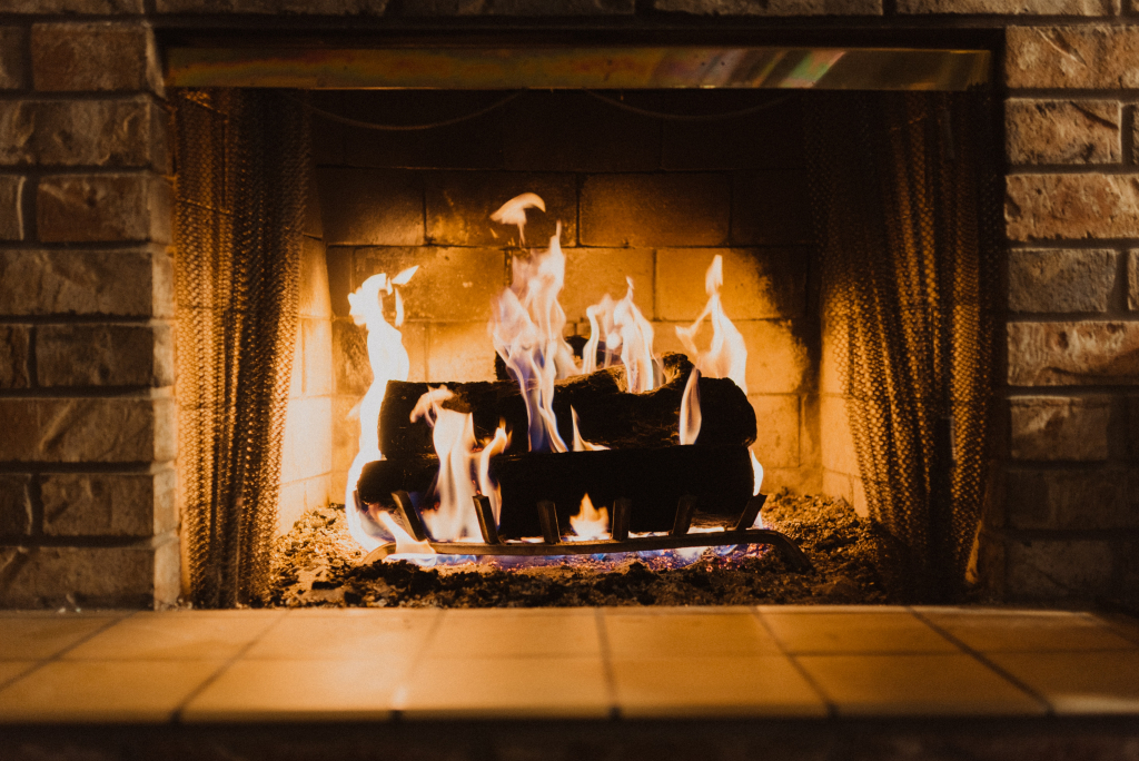 A cozy fireplace can provide extra heat in winter.